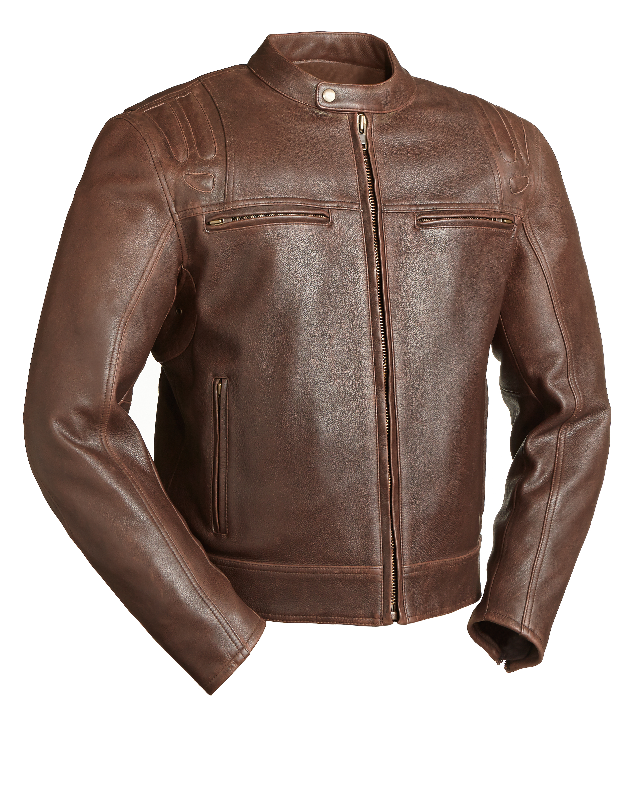FIM241CAZ The Carbon Men's Leather Motorcycle Jacket BROWN ...