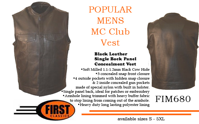 Note when ordering vests - most have big arm openings for usage over MC jackets - especially Club vests