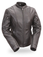 The FIL177 Ladies side buckle modern racer scooter leather jacket is sleek and very stylish.