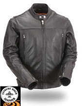 FIM275 Mens Sleek Vented Scooter Motorcycle Leather Jacket  with adjustable sides.