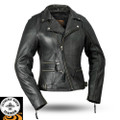 Monte Carlo FIL160NOCZ Ladies Leather Motorcycle Jacket Black | First Manufacturing