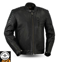 Defender FIM293CHRZ Men's Leather Jacket | First Manufacturing