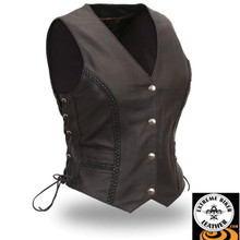 Trinity FIL508CFD Vest Women's Braided Side Lace Motorcycle Vest