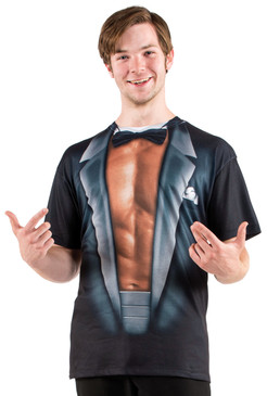 Faux Real Stripper Tuxedo - Model Front View