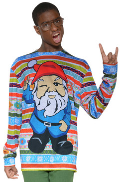 Faux Real Men's Christmas Gnome Sweater T-Shirt - Front View