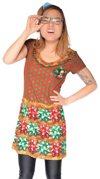 Faux Real Christmas Bow Dress - Front View