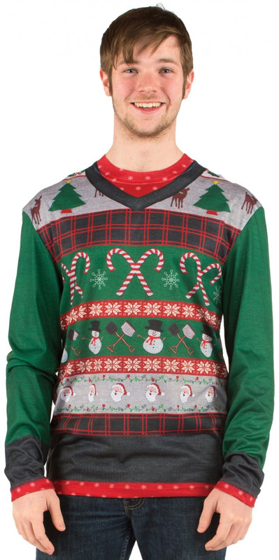 Mens Ugly Christmas Sweater - Faux Real