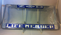 "Zeta Phi Beta Sorority ""Life Member"" Blue/Silver License Plate Frame"