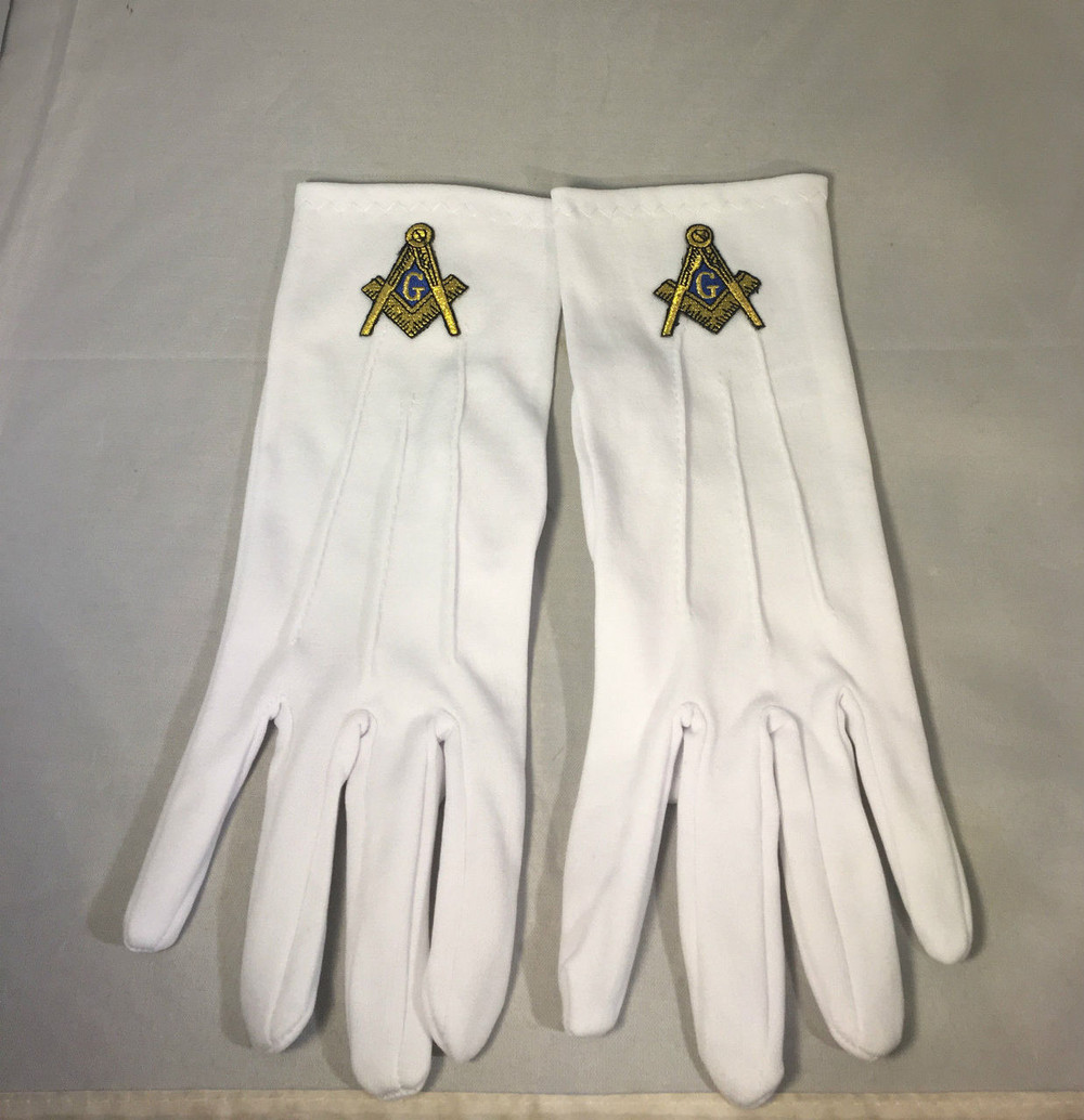 Mason Masonic Gloves With Symbol Gold Brothers And