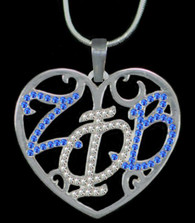 Zeta Phi Beta Sorority Heart Shaped Necklace-Blue/Silver