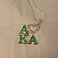 Alpha Kappa Alpha AKA Sorority Three Greek Letter with Heart Crystal Necklace
