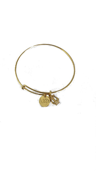 Alpha Chi Omega Sorority Bangle- Gold