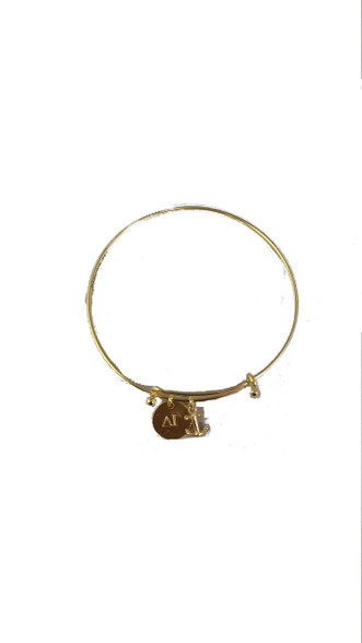 Delta Gamma Sorority Bangle with Mascot Charm- Gold