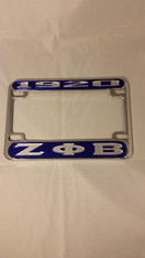 Zeta Phi Beta Sorority Motorcycle License Plate Frame- Blue/Silver