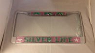 "Alpha Kappa Alpha ""Silver Life"" License Plate Frame- Pink/Green"