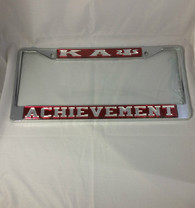 Kappa Alpha Psi Fraternity Achievement License Plate Frame- Red/Silver
