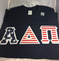 Shirt Inspiration- Sorority Double Stitched Letter Shirt- American Flag- Navy