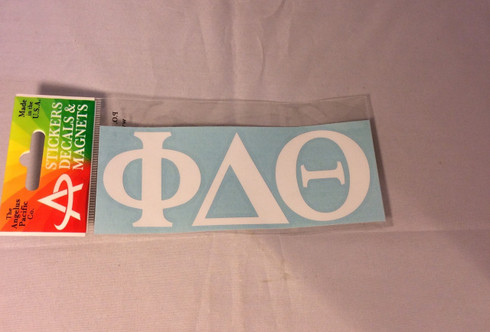 Phi Delta Theta Fraternity White Car Letters