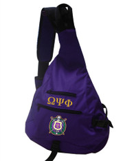 Omega Psi Phi Fraternity Sling Shoulder Bag Backpack with Greek Letters and Fraternity Crest