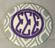 Sigma Sigma Sigma Tri-Sigma Gray and White Button-Large