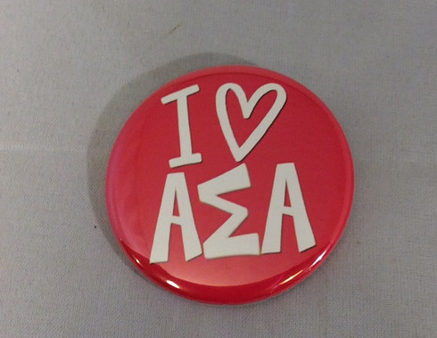 Alpha Sigma Alpha Sorority- I Heart Button- Small