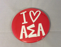 Alpha Sigma Alpha Sorority- I Heart Button- Large