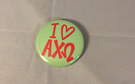 Alpha Chi Omega Sorority- I Heart Button- Small
