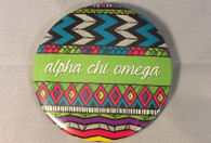 Alpha Chi Omega Sorority Tribal Print Button- Large
