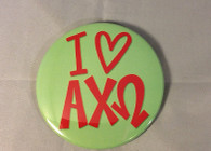 Alpha Chi Omega Sorority- I Heart Button- Large