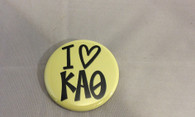 Kappa Alpha Theta Sorority- I Heart Button- Small