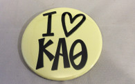 Kappa Alpha Theta Sorority- I Heart Button- Large