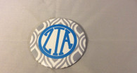 Zeta Tau Alpha ZTA Sorority Gray and White Button-Large