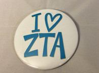 Zeta Tau Alpha Sorority- I Heart Button-Large