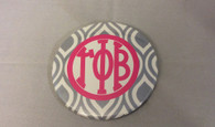 Gamma Phi Beta Sorority Gray and White Button-Large