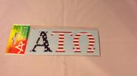 Alpha Tau Omega Fraternity Car Letters- American Flag Pattern