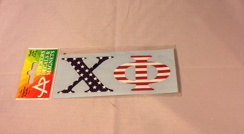 Chi Phi Fraternity Car Letters- American Flag Pattern