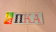 Pi Kappa Alpha PIKE Fraternity Car Letters- American Flag Pattern