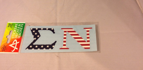Sigma Nu Fraternity Car Letters- American Flag Pattern