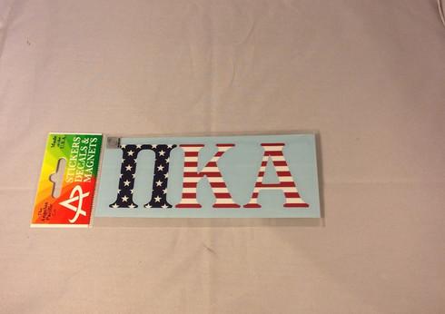 Pi Kappa Alpha PIKE Car Letters- American Flag Pattern