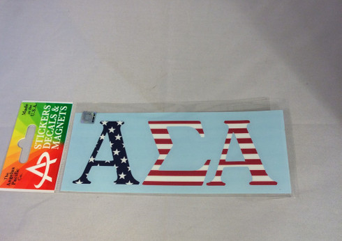 Alpha Sigma Alpha USA Car Letters- American Flag Pattern
