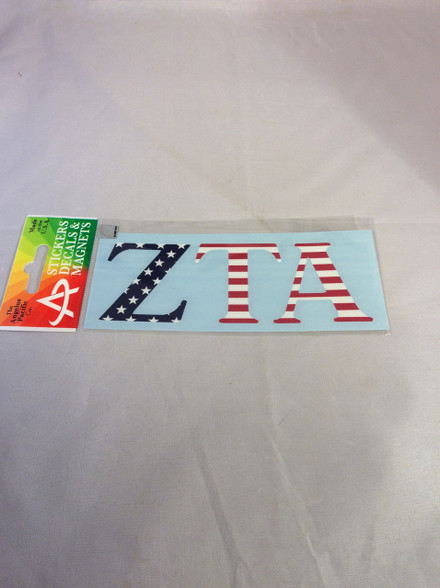 zeta tau alpha zta sorority usa car letters american flag pattern