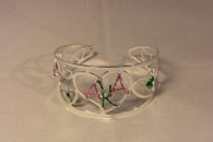 Alpha Kappa Alpha AKA Sorority Heart Bangle Bracelet