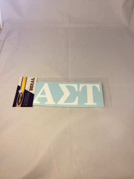 Alpha Sigma Tau Sorority White Car Letters