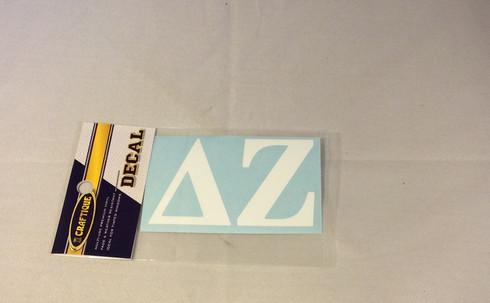 Delta Zeta Sorority White Car Letters