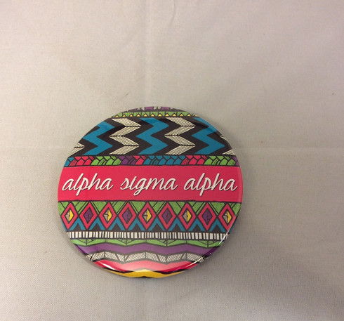 Alpha Sigma Alpha Sorority Tribal Print Button- Large