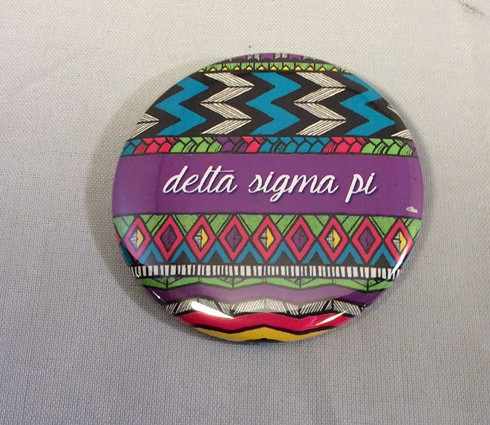 Delta Sigma Pi Fraternity Tribal Print Button- Small