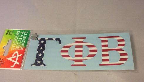 Gamma Phi Beta Sorority USA Car Letters- American Flag Pattern
