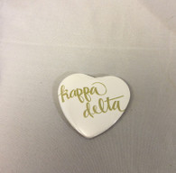 Kappa Delta Sorority Heart Shaped Pin- White