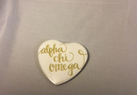 Alpha Chi Omega Sorority Heart Shaped Pin- White
