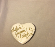 Alpha Sigma Alpha Sorority Heart Shaped Pin- White